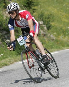 John racing his bike in France.